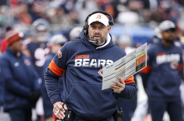 Chicago Bears head coach Matt Nagy (pictured) held a two-hour team meeting Monday to discuss the death of George Floyd and other events related to police brutality. File Photo by Kamil Krzaczynski/UPI