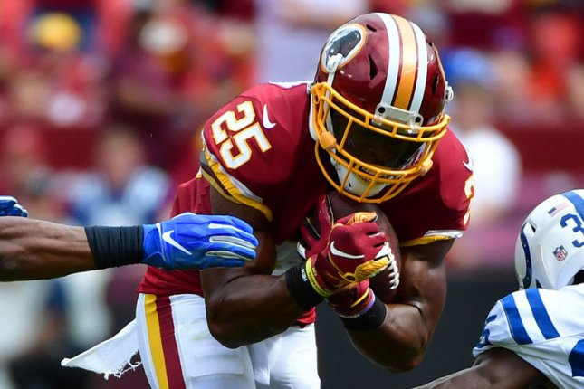 Chris Thompson (25) joined the Jacksonville Jaguars this off-season and should see a boost in receptions after the team waived running back Leonard Fournette on Monday. File Photo by Kevin Dietsch/UPI