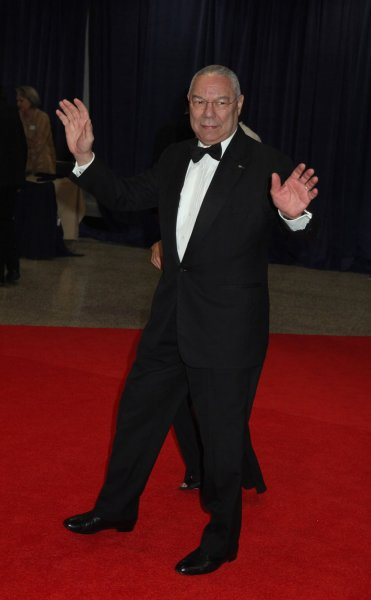 Former Secretary of State Colin Powell poses for photos at the White House Correspondents' Association Dinner in Washington, April 28, 2012. UPI/Chris Kleponis