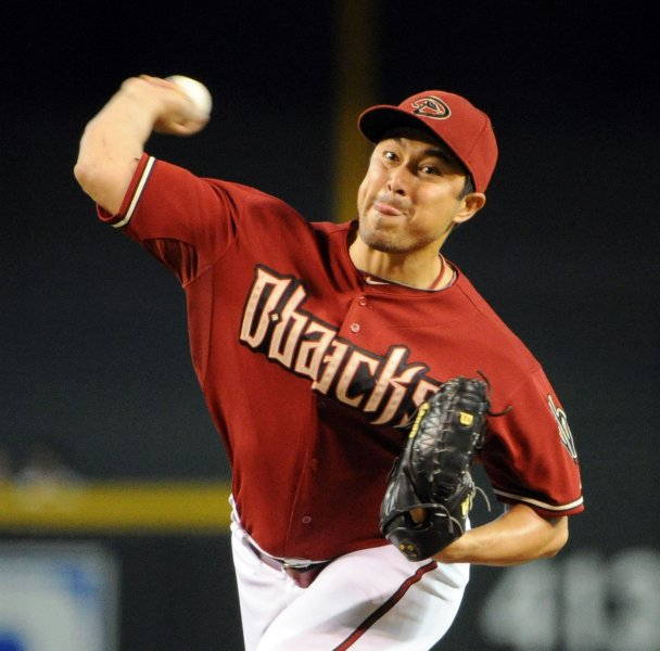 Arizona Diamondbacks pitcher Rodrigo Lopez deliver a pitch during the first inning against the Houston Astros at Chase Field in Phoenix, AZ, September 5,2010. UPI/Art Foxall