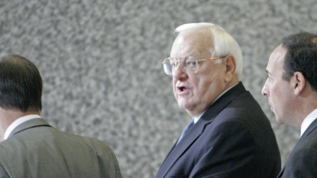 Former Illinois Gov. George Ryan arrives in court to face federal corruption charges, Sept. 28, 2005, in Chicago. (UPI File Photo /Brian Kersey)