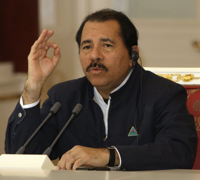 Nicaraguan President Daniel Ortega speaks during a meeting with Russian President Dmitry Medvedev in the Kremlin in Moscow on December 18, 2008. Nicaragua was a close ally of Moscow in the 1980s under Daniel Ortega, a leftist who returned to power in 2006. (UPI Photo/Anatoli Zhdanov)