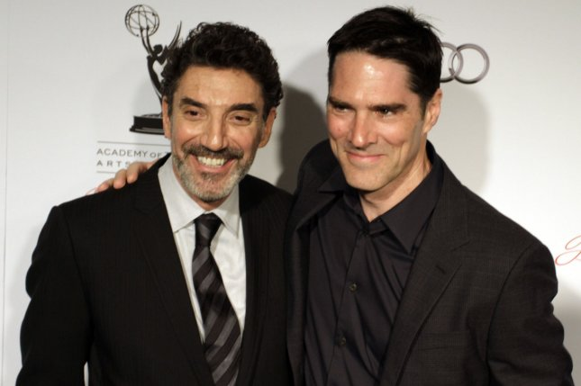 Thomas Gibson (R) and Chuck Lorre at the Academy of Television Arts & Sciences Hall of Fame ceremony on March 1, 2012. The actor played Aaron Hotchner on Criminal Minds. File photo by Jonathan Alcorn/UPI
