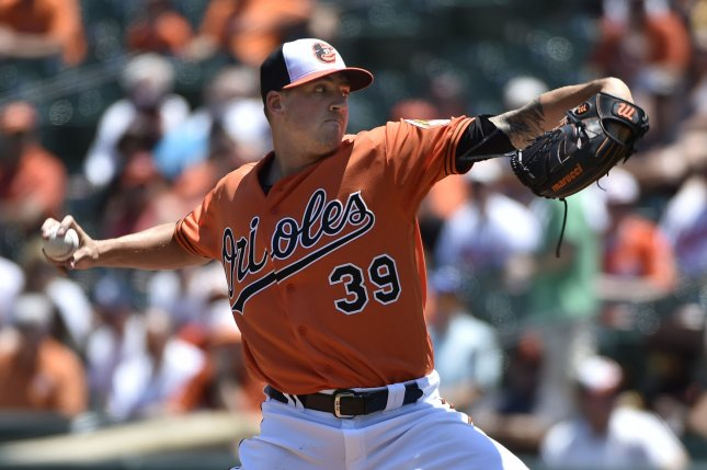 Baltimore Orioles starting pitcher Kevin Gausman delivers to the Tampa Bay Rays during the first inning at Camden Yards in Baltimore, June 25, 2016. Photo by David Tulis/UPI