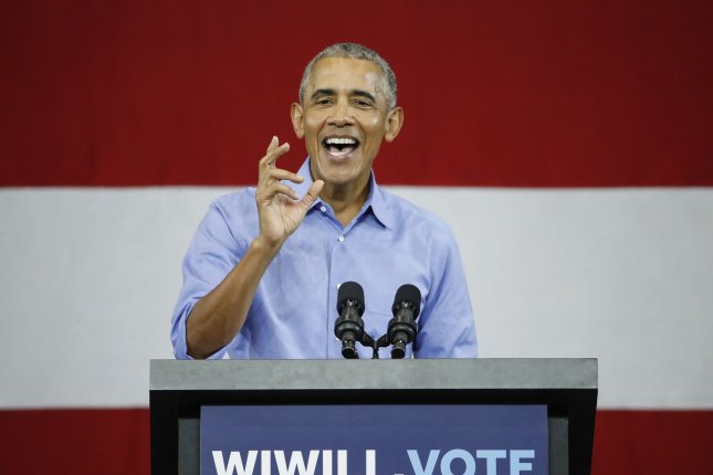 Former President Barack Obama speaks at a rally for Wisconsin Democrats in Milwaukee, Wis., on October 26. He will travel to Florida Friday, where he will stump for Democratic candidates in two key midterm races. Photo by Kamil Krzaczynski/UPI