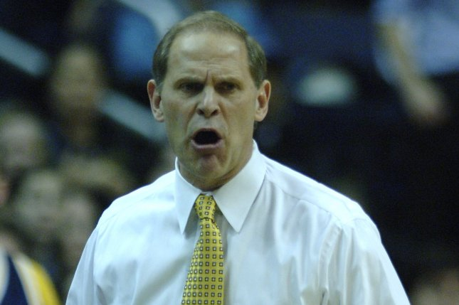 Head coach John Beilein and Michigan face Northwestern in Big Ten action on Tuesday. File photo by Kevin Dietsch/UPI