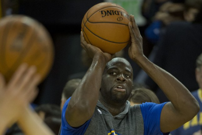 Golden State Warriors forward Draymond Green suffered an ankle sprain against the Houston Rockets on Saturday. File Photo by Terry Schmitt/UPI