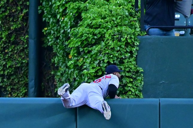 Boston Red Sox center fielder Jackie Bradley Jr. had one of his most-significant home run robberies of the season in extra innings against the Baltimore Orioles on Wednesday in Baltimore. File Photo by David Tulis/UPI