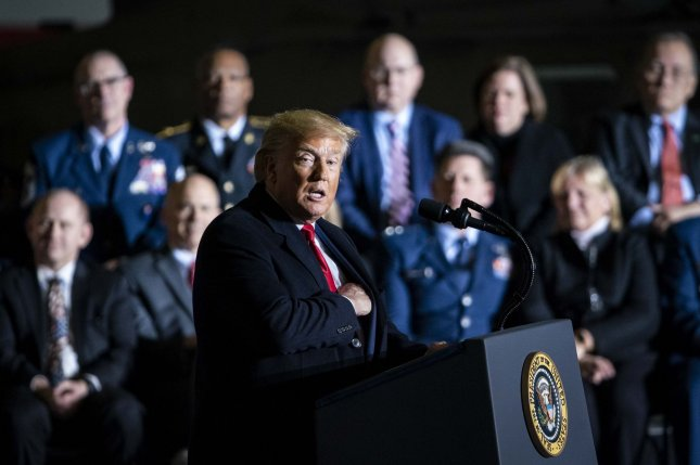 President Donald Trump speaks during the $738 billion defense bill signing ceremony at Joint Base Andrews, Maryland on Friday. Photo by Al Drago/UPI