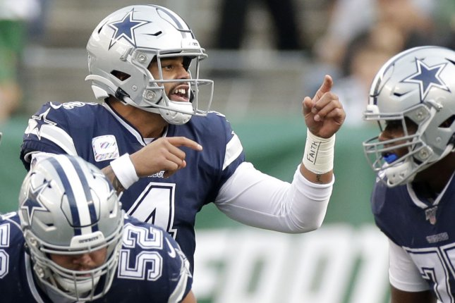 The Dallas Cowboys announced the death of Dak Prescott's brother, Jace, Thursday night during the first round of the NFL Draft. File Photo by John Angelillo/UPI