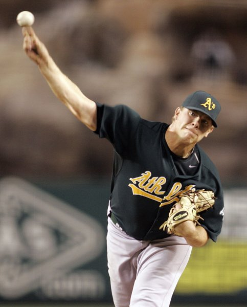 Oakland Athletics relief pitcher Andrew Bailey throws in a game at Anaheim, Calif., Aug. 27, 2009. UPI/Lori Shepler.