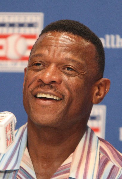 Rickey Henderson, shown at a news conference at the Baseball Hall of Fame in Cooperstown, N.Y., July 25, 2009. Henderson was inducted into the hall in his first year of eligibility. (UPI Photo/Bill Greenblatt)