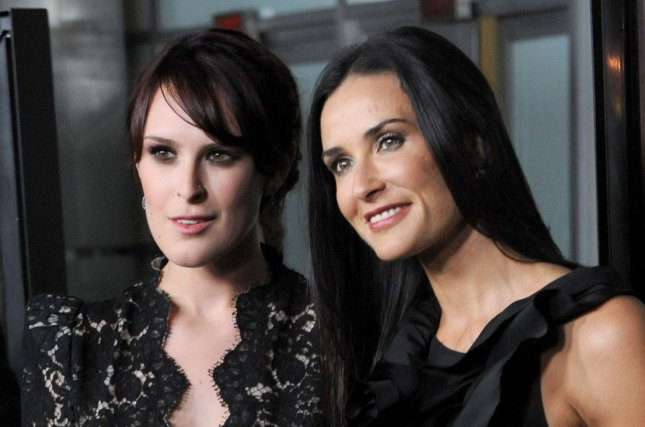 Demi Moore (R) and daughter Rumer Willis at the Los Angeles premiere of 'Sorority Row' on September 3, 2009. The actress impressed fans with her youthful looks in a new photo. File photo by Jim Ruymen/UPI