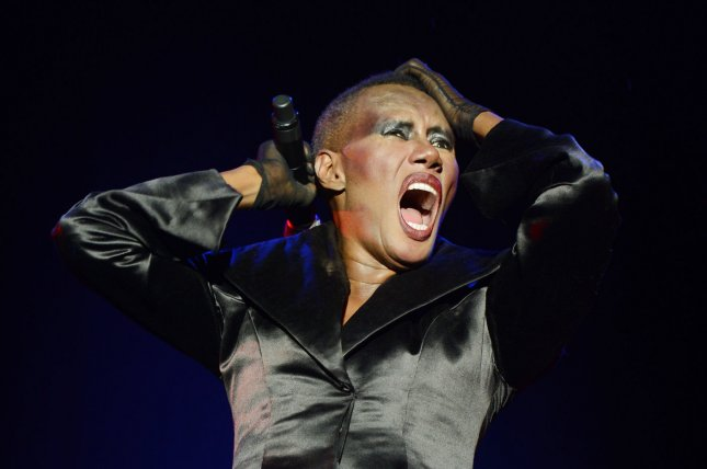 Grace Jones performs in London on June 17, 2012. The singer slams Miley Cyrus, Rihanna and Lady Gaga in her forthcoming memoir. File photo by Rune Hellestad/UPI