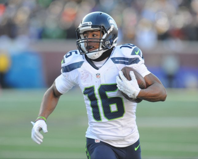 Seattle Seahawks wide receiver Tyler Lockett (16) took advantage of a rare start to finish with seven receptions for 130 yards and a touchdown against the Los Angeles Rams on Thursday. Photo by Marilyn Indahl/UPI