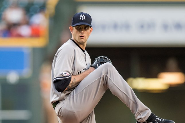 New York Yankees starting pitcher James Paxton has a 2.81 ERA this season. File Photo by Trask Smith/UPI