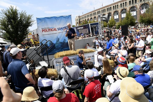 Former Vice President Joe Biden makes remarks at the Iowa State Fair Political Soapbox in Des Moines, Iowa, on Thursday. Photo by Mike Theiler/UPI