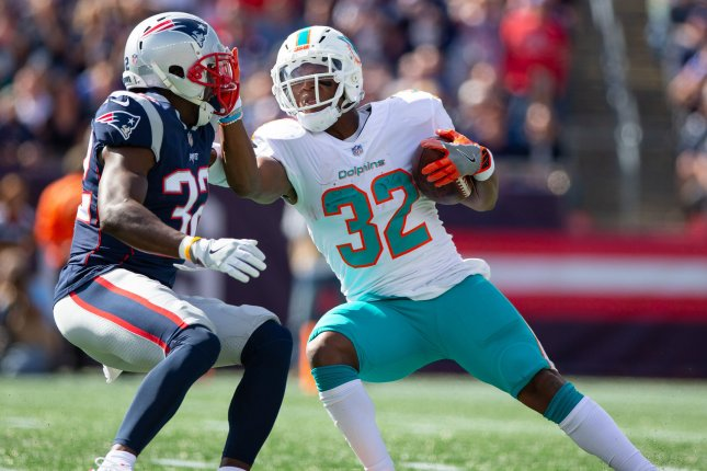 Kenyan Drake (32) had 348 yards from scrimmage in six games this season for the Miami Dolphins. File Photo by Matthew Healey/UPI