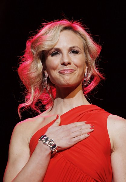 Elisabeth Hasselbeck walks the runway at the The Heart Truth's Red Dress Collection at Mercedes-Benz Fashion Week in New York City on February 11, 2010. UPI/John Angelillo