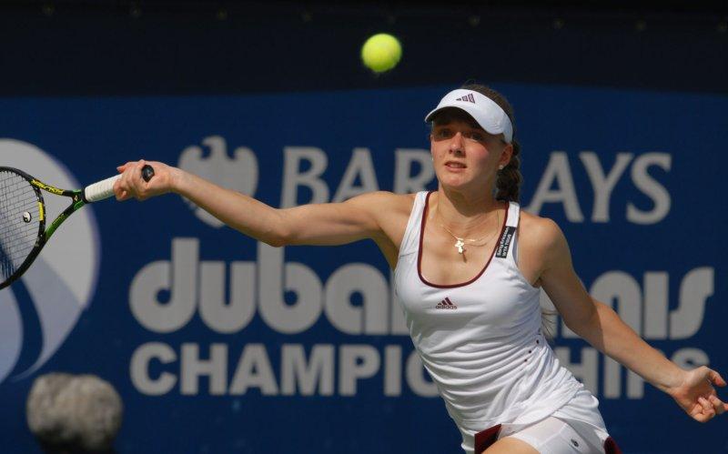 Anna Chakvetadza, shown at the Dubai Tennis Championshjps Feb. 26, 2008. (UPI Photo/Norbert Schiller)
