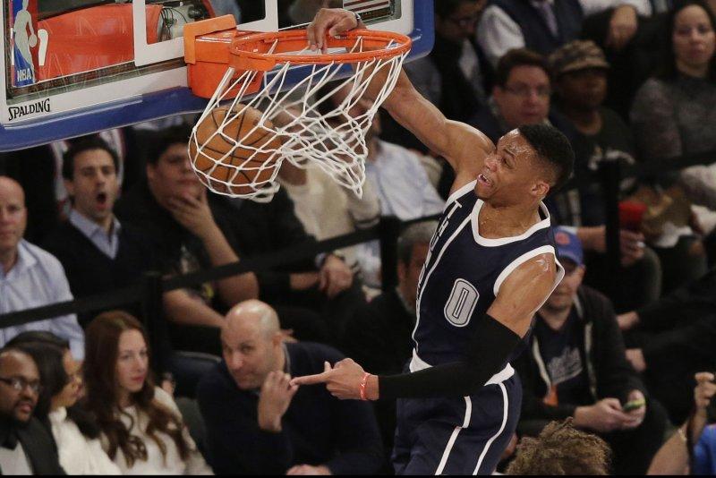 Oklahoma City Thunder's Russell Westbrook dunks the basketball. Photo by John Angelillo/UPI