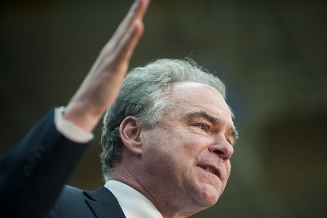 Sen. Tim Kaine, D-Va., is among a number of bipartisan senators who have sent a letter to President Barack Obama calling for robust spending on nuclear weapons. Photo by Pete Marovich/UPI