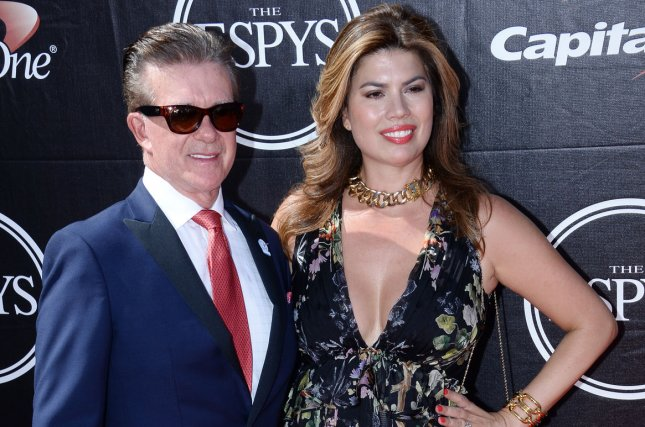 Alan Thicke and his wife Tanya Callau attend the ESPY Awards at Microsoft Theater in Los Angeles on July 15, 2015. File Photo by Jim Ruymen/UPI