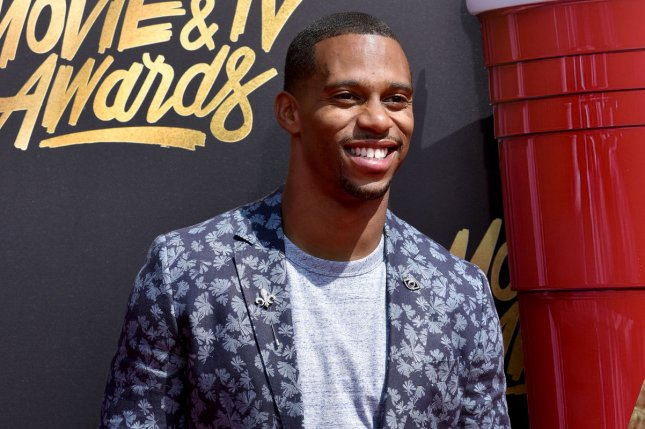 NFL free agent WR Victor Cruz attends the MTV Movie & TV Awards at the Shrine Auditorium on Sunday in Los Angeles, Calif. Photo by Christine Chew/UPI