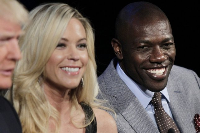 Kate Gosselin and Terrell Owens (R) sit on the stage at the Celebrity Apprentice Season 14 red carpet and press conference on March 20, 2014 at Chelsea Piers in New York City. File photo by John Angelillo/UPI