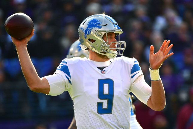 Matthew Stafford and the Detroit Lions take on the Carolina Panthers on Sunday. Photo by Kevin Dietsch/UPI