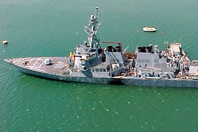 The USS Cole is seen following a terrorist attack on October 12, 2000, in which 17 U.S. Navy sailors died and 39 were injured. File photo courtesy U.S. Navy/UPI