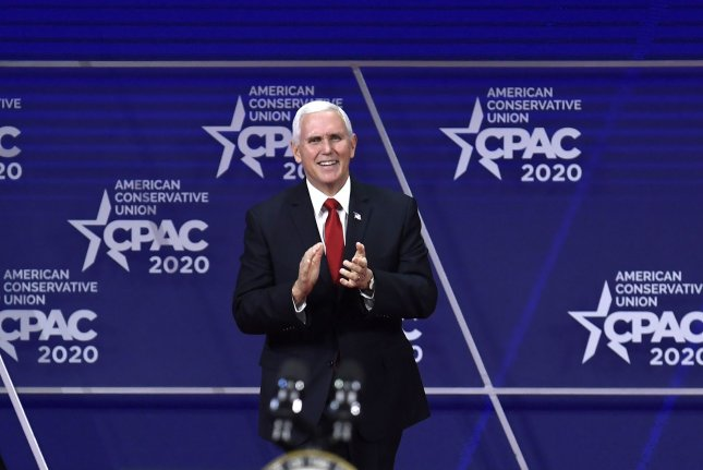 Vice President Mike Pence applauds as he speaks Thursday at the Conservative Political Action Conference in National Harbor, Md. Photo by Mike Theiler/UPI