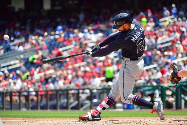 Atlanta Braves outfielder Nick Markakis (pictured) was entering his sixth season with the Braves. He was competing for a spot in the team's outfield after the off-season signing of slugger Marcell Ozuna. File Photo by Kevin Dietsch/UPI