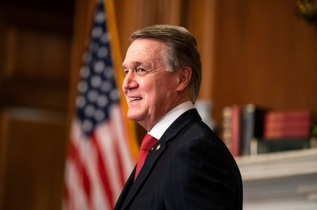 U.S. Sens. David Perdue, pictured here, and Kelly Loeffler of Georgia called on the state's Republican Secretary of State Brad Raffensperger to resign Monday citing election failures. Pool photo by Anna Moneymaker/UPI
