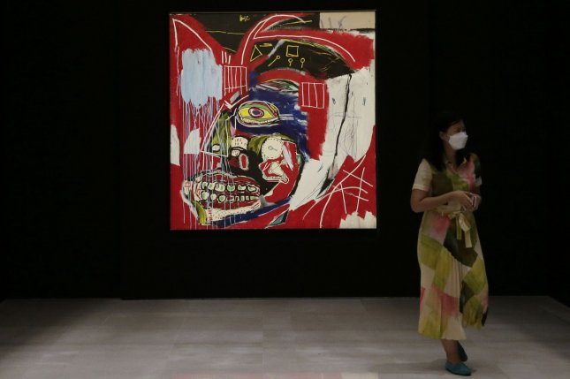 In This Case by Jean-Michel Basquiat is on display at a preview of the 20th and 21st Century evening sales at Christie's New York galleries in New York City on May 3. Photo by John Angelillo/UPI