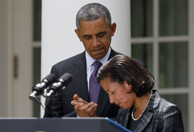 Susan Rice, shown with President Barack Obama at the White House June 5, 2013. UPI/Molly Riley