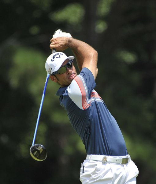 Alvaro Quiros, shown in a file photo from earlier this year, owns a 1-stroke lead going into Sunday's final round of the European Tour's Hong Kong Open. UPI/Brian Kersey
