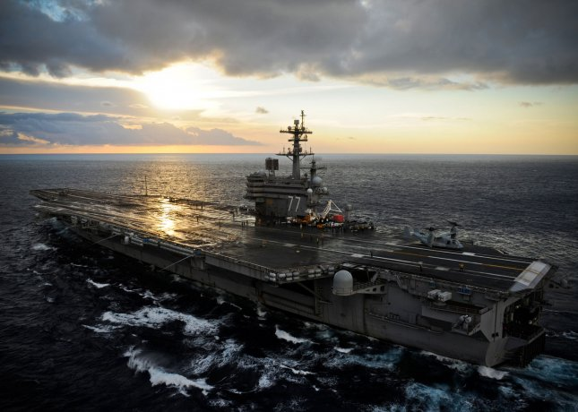 The USS George H.W. Bush was sent to the Persian Gulf in response to escalating tension in Iraq. UPI/Brian M. Brooks/USN