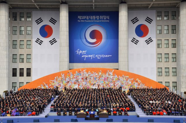 A 2013 ceremony at South Korea's National assembly for President Park Geun-hye. On Tuesday South Korean lawmakers passed an anticorruption bill that has sparked debate. File Photo by Keizo Mori/UPI