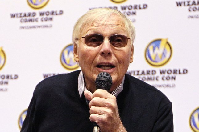 Batman icon Adam West greets the crowd during opening festivities for the Wizard World St. Louis Comic Con on April 4, 2014. File Photo by Bill Greenblatt/UPI