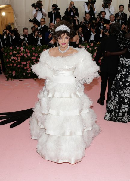 Joan Collins arrives on the red carpet at The Metropolitan Museum of Art's Costume Institute Benefit Camp: Notes on Fashion in New York City on May 6, 2019. The actor turns 87 on May 23. File Photo by John Angelillo/UPI