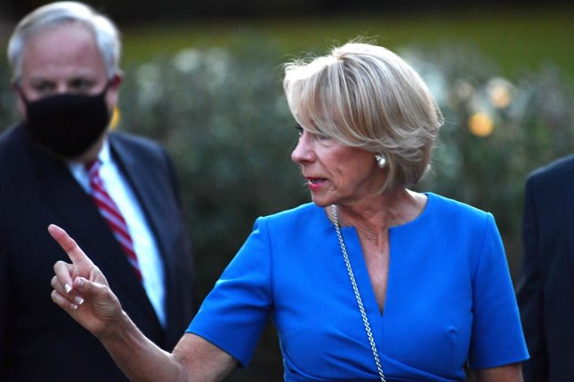 Secretary of Education Betsy DeVos lost a court battle Friday when a judge struck down her department's rule on pandemic relief funding for private schools as illegal. Photo by Kevin Dietsch/UPI