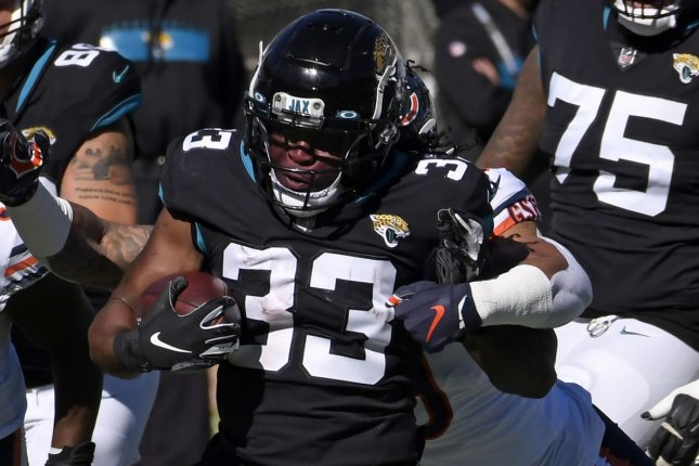 The Jacksonville Jaguars running back Dare Ogunbowale had 14 carries for 71 yards in a loss to the Chicago Bears on Sunday in Jacksonville, Fla. Photo by Joe Marino/UPI