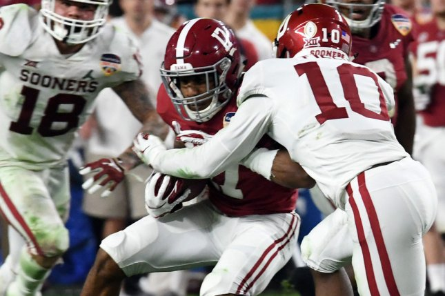 Alabama will work out wide receiver Jaylen Waddle (17) in pregame warmups to determine if he can play in Monday's College Football Playoff National Championship game. File Photo by Gary I Rothstein/UPI