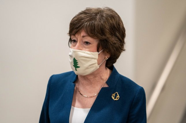 A group of 10 Republican senators, led by Sen. Susan Collins of Maine, sent a letter asking President Joe Biden to meet with them to discuss cuts to his $1.9 trillion COVID-19 relief bill.Photo by Ken Cedeno/UPI.