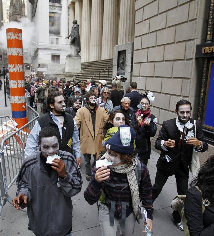 Wall Street Protestors dressed as zombies last year. UPI/John Angelillo