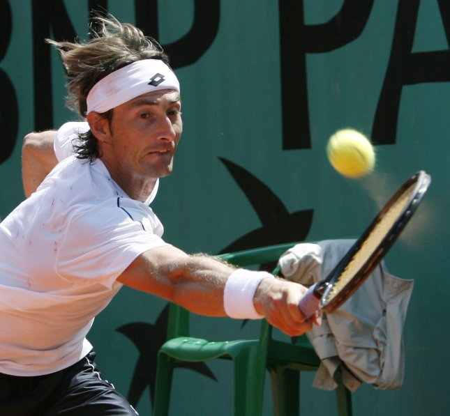 Juan Carlos Ferrero, shown in a file photo from the 2007 French Open, posted a first-round upset win Monday at a tournament in Austria. (UPI Photo/David Silpa)