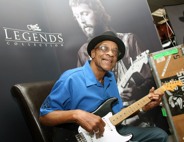 Legendary blues artist Hubert Sumlin poses with Eric Clapton's Blackie at Guitar Center in Chicago on July 26, 2007. (UPI Photo/Joseph Oliver)