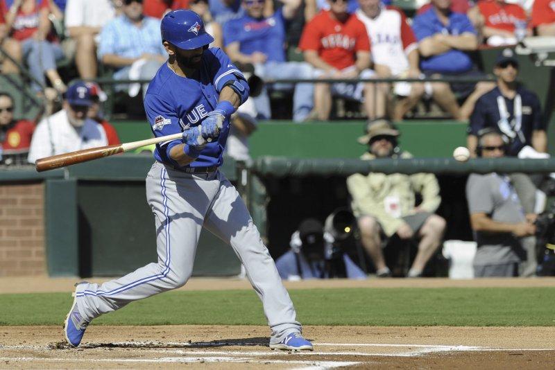 Toronto Blue Jays Jose Bautista at bat against the Texas Rangers. Photo by Michael Prengler/UPI