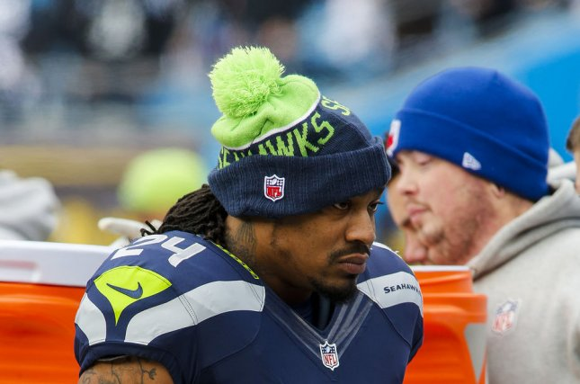 Seattle Seahawks running back Marshawn Lynch walks on the sidelines as the Seahawks play the Carolina Panthers in a NFC divisional playoff football game at Bank of America Stadium in Charlotte, North Carolina on January 17, 2016. Photo by Nell Redmond/UPI